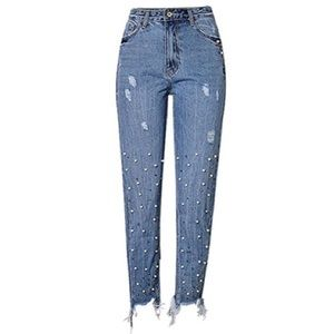 Pearl jeweled Jeans with Distressed Hem